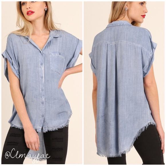 8492f42bed CLEARANCE  Liz  Light Blue Wash Button Down Blouse